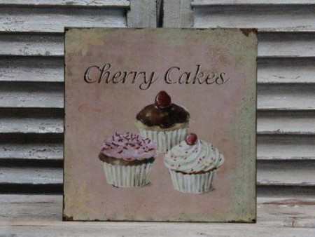 "Chic Antique Skilt "" Cherry Cakes """