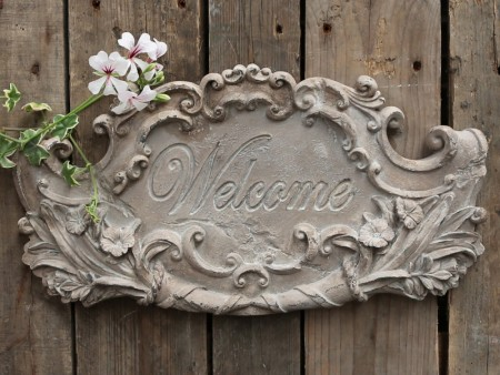 "Chic Antique Skilt ""Welcome"""